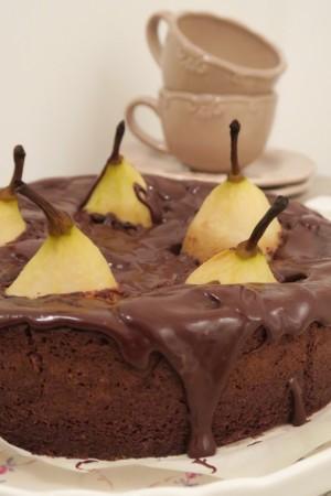 Gâteau fondant poire chocolat amandes