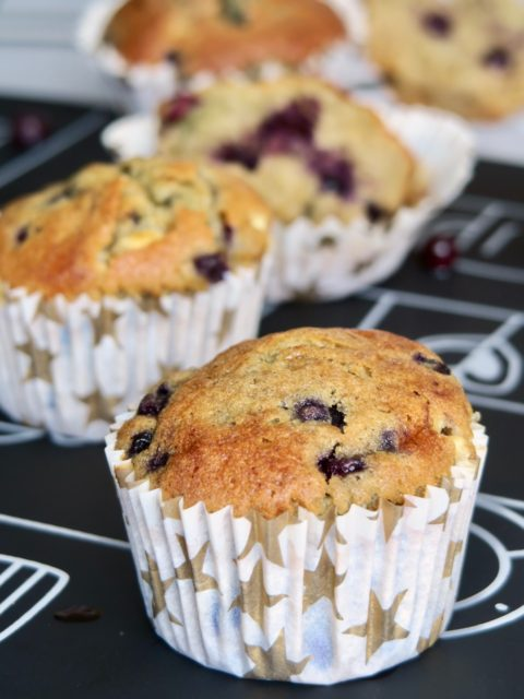 Muffins myrtilles et chocolat blanc hyper moelleux